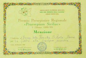 """5) Menzione prestigiosa conferita al Presepe di Baucina dall'Associazione """"praesepium Siciliae"""", una delle migliori in Italia."""